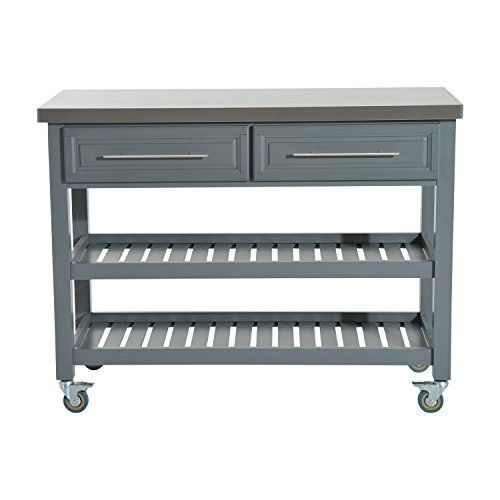 Rolling Kitchen Trolley Cart Stainless Steel Top Rustic Regarding Lacluta Sideboards (View 12 of 15)