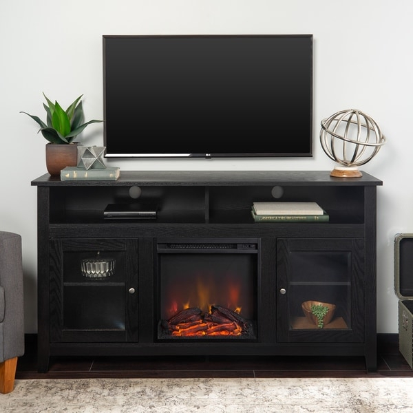 """Shop 58"""" Highboy Fireplace Tv Stand Console – Black – 58 X In Jace Tv Stands For Tvs Up To 58"""" (View 15 of 15)"""