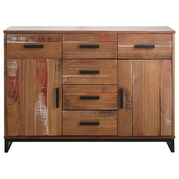 """Shop Santana Pine And Metal 2 Door 6 Drawer Sideboard Intended For Millstadt 52"""" Wide 3 Drawer Pine Wood Buffet Tables (View 6 of 15)"""