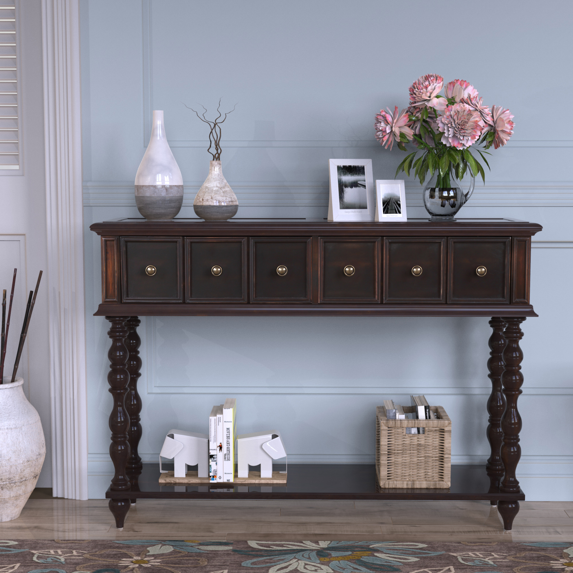 """Urhomepro 48"""" Console Table Buffet Cabinet Sideboard For Regarding Searsport 48"""" Wide 4 Drawer Buffet Tables (View 6 of 15)"""