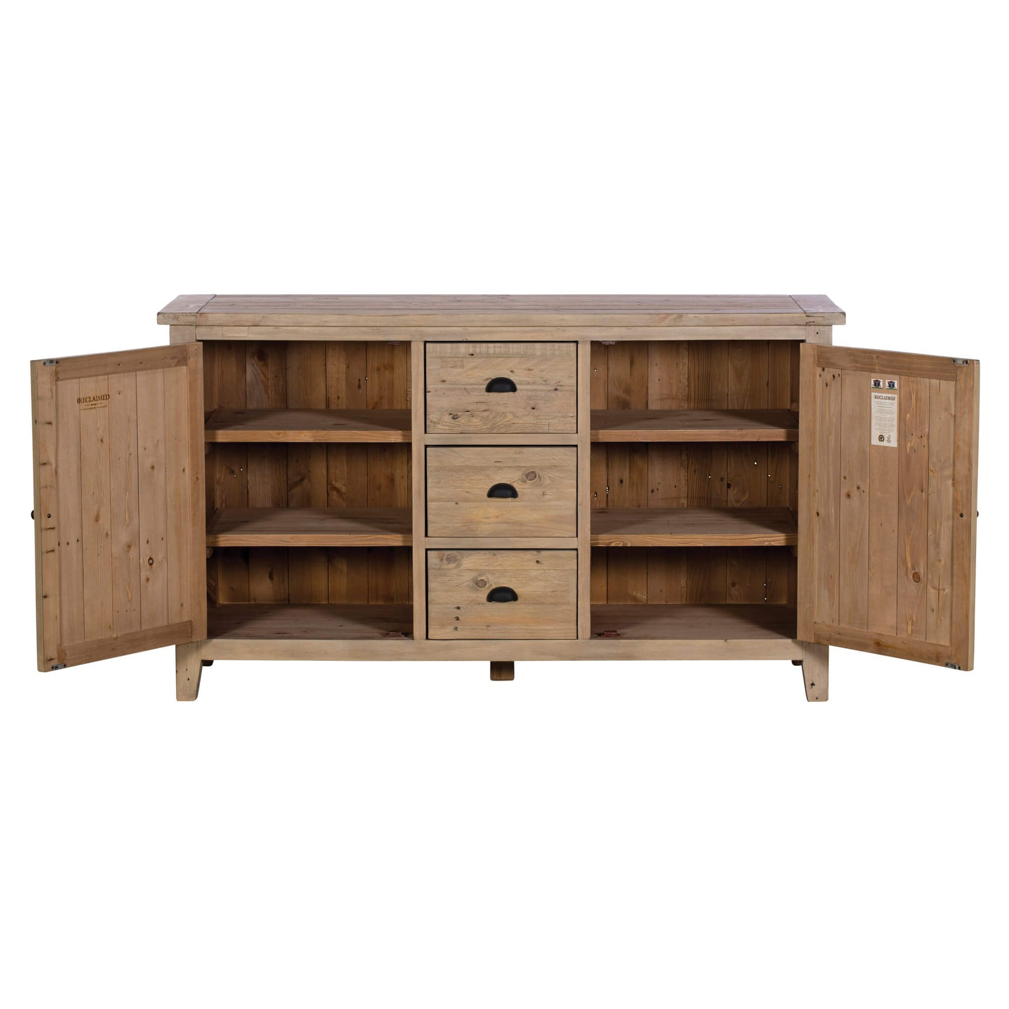 """Vancouver Reclaimed Wood 2 Door 3 Drawer Wide Sideboard Pertaining To Albright 58"""" Wide 3 Drawer Sideboards (View 10 of 15)"""