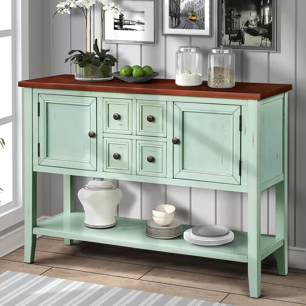 """Voight 46"""" Wide 4 Drawer Acacia Wood Server 