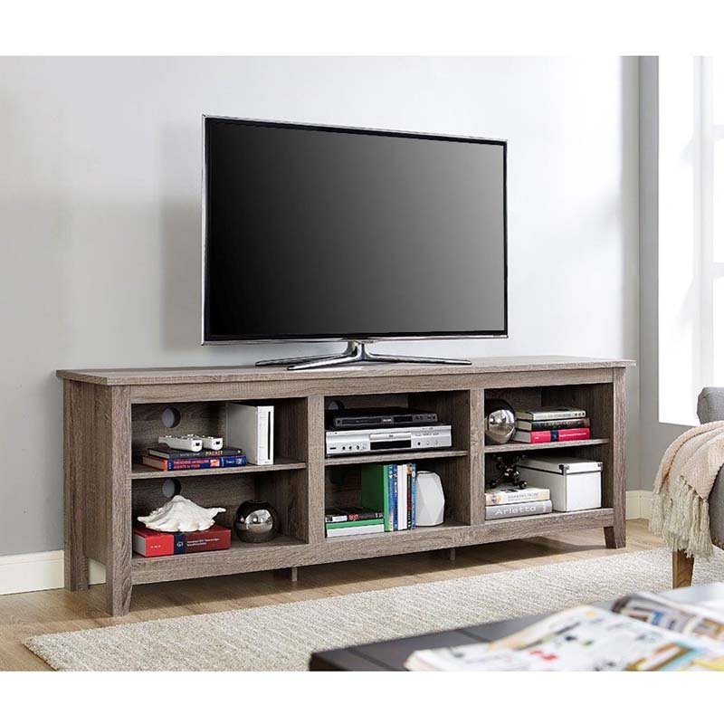 """Walker Edison Essentials 70 Inch Tv Stand Ash Grey W70cspag With Regard To Lederman Tv Stands For Tvs Up To 70"""" (View 13 of 15)"""