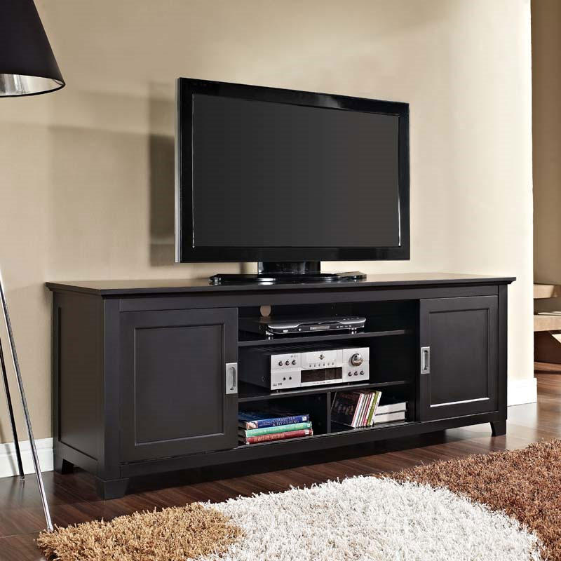 """Walker Edison Solid Wood 70 Inch Tv Stand With Sliding Within Lederman Tv Stands For Tvs Up To 70"""" (View 11 of 15)"""