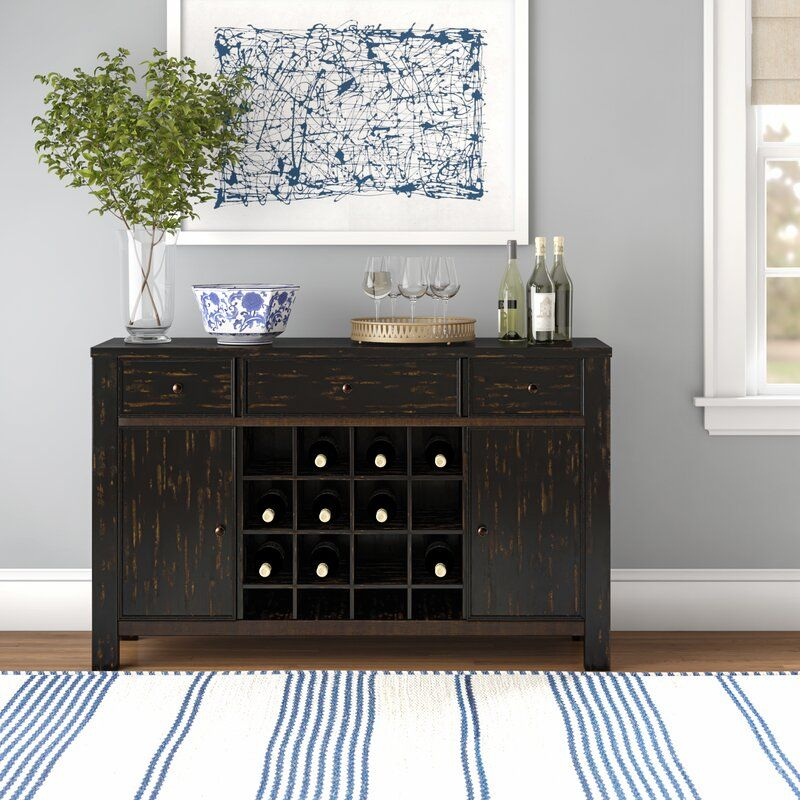 """Yarmouth 58"""" Wide 3 Drawer Poplar Wood Sideboard   Mid With Regard To Albright 58"""" Wide 3 Drawer Sideboards (View 4 of 15)"""