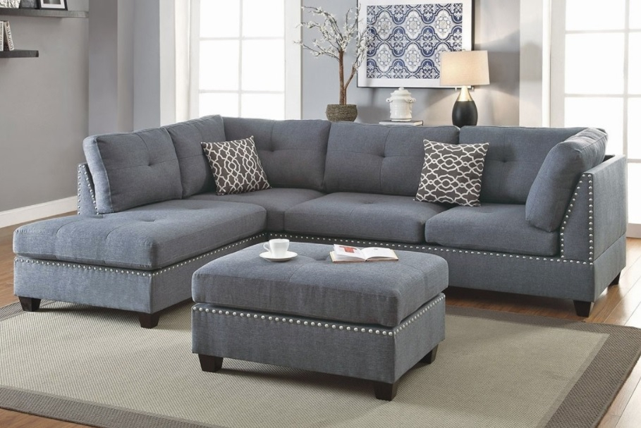 3 Piece Sectional Sofa With Ottoman, Blue Grey Color F6975 Regarding Noa Sectional Sofas With Ottoman Gray (View 10 of 15)