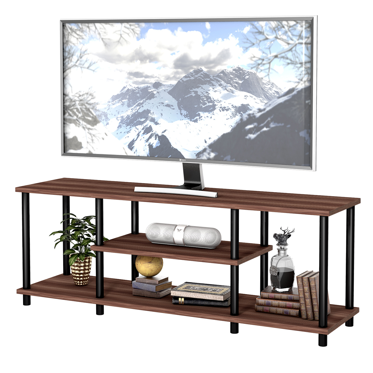 3 Tier Wood Tv Stand Media Game Console Storage Cabinet Intended For Tier Entertainment Tv Stands In Black (View 6 of 15)