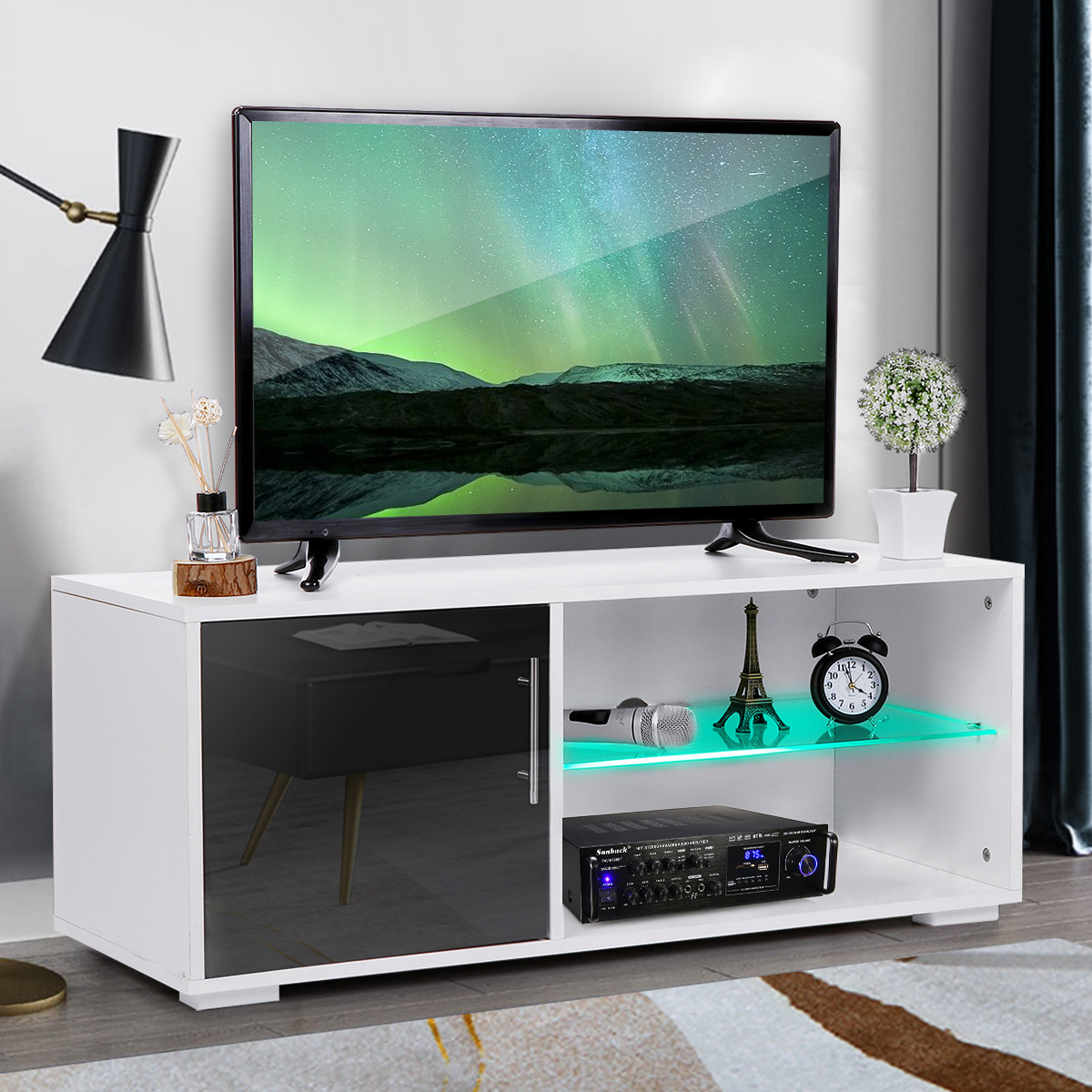 """39"""" Modern High Gloss Tv Stand Cabinet With Led Shelves Within Polar Led Tv Stands (View 1 of 15)"""