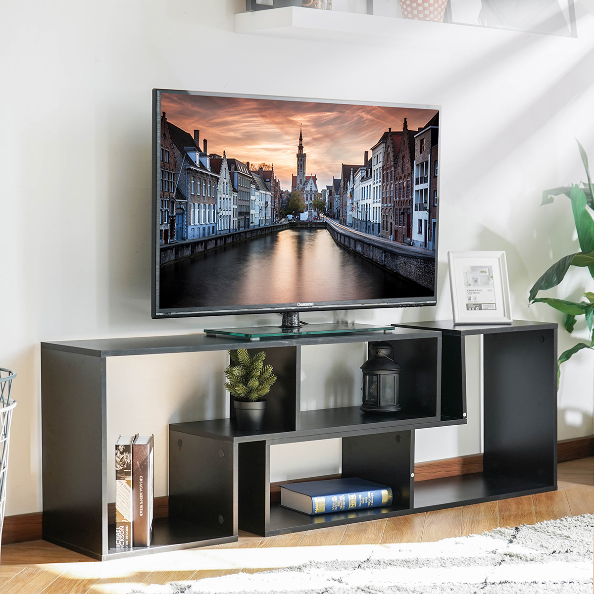 43'' – 86'' Tv Convertible Tv Stand And Bookcase, Modern With Regard To Baby Proof Contemporary Tv Cabinets (View 4 of 15)