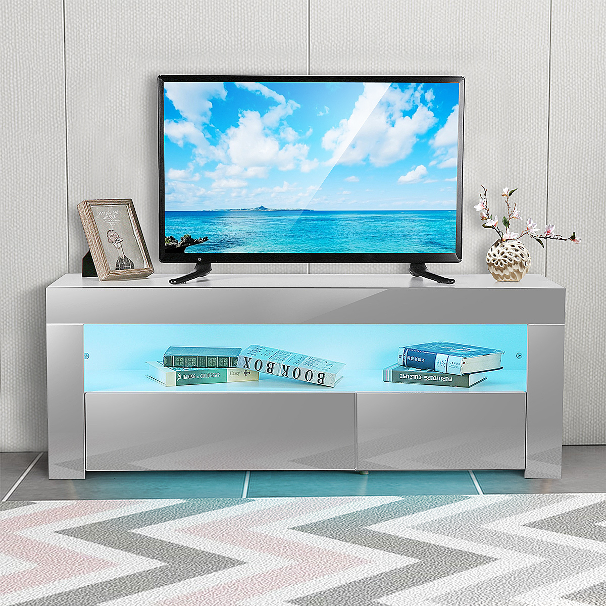 """47"""" Tv Stand High Gloss Tv Cabinet, With 16 Color Leds, 2 With Baba Tv Stands For Tvs Up To 55"""" (View 15 of 15)"""
