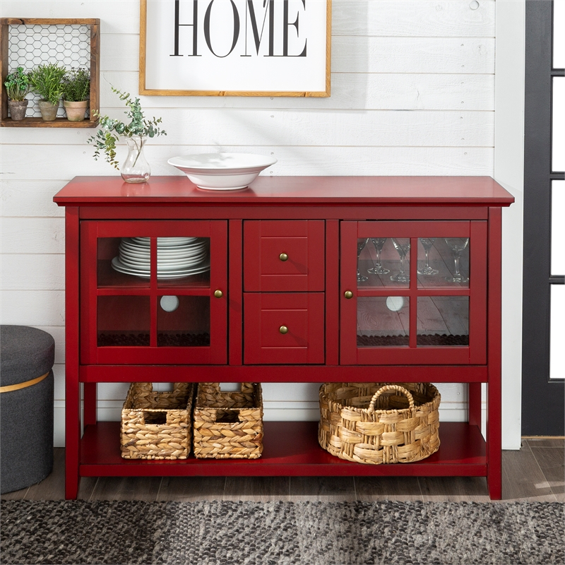 """52"""" Buffet Table Tv Stand In Antique Red – W52c4ctrd Throughout Red Tv Units (View 13 of 15)"""