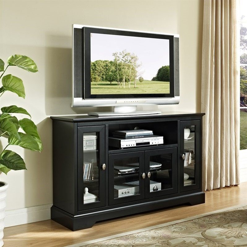 """52"""" Highboy Style Wood Tv Stand In Black – W52c32bl Within Wooden Tv Stands With Doors (View 10 of 15)"""