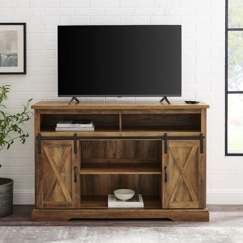 """52"""" Modern Farmhouse High Boy Wood Tv Stand With Sliding Within Wooden Tv Stands With Doors (View 7 of 15)"""