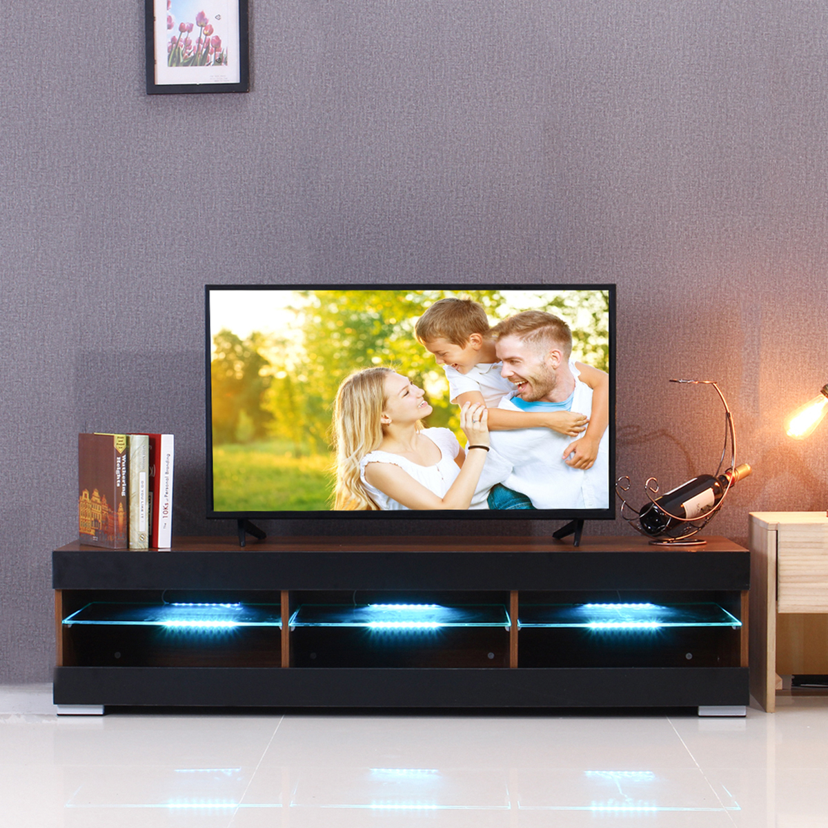 57'' Tv Stand Cabinet Media Console For Flat Tv Screens 40 In Tv Stands Cabinets (View 3 of 15)