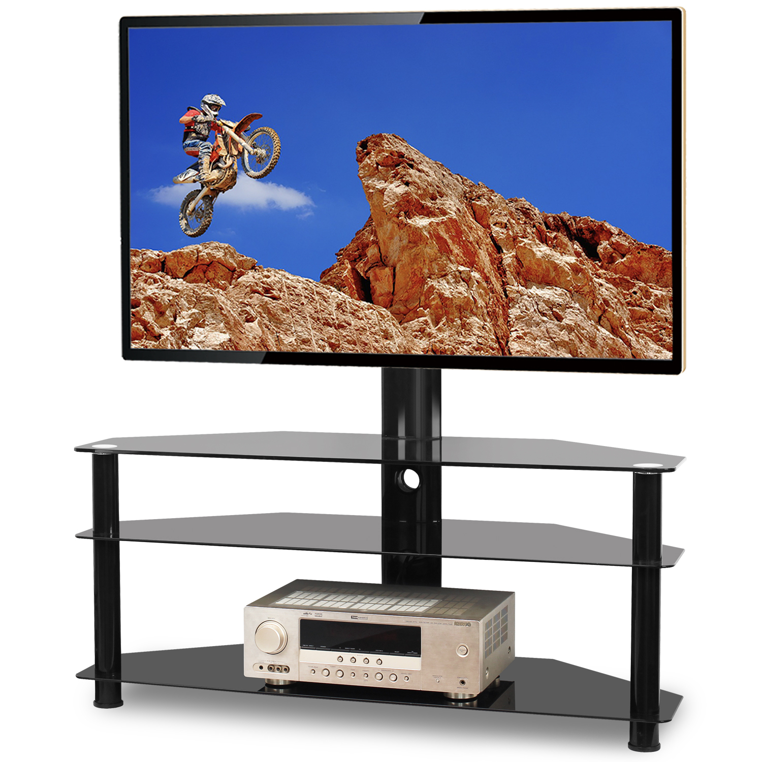"""5rcom Floor Tv Stand With Swivel Mount For Flat Curved Throughout Colleen Tv Stands For Tvs Up To 50"""" (View 13 of 15)"""