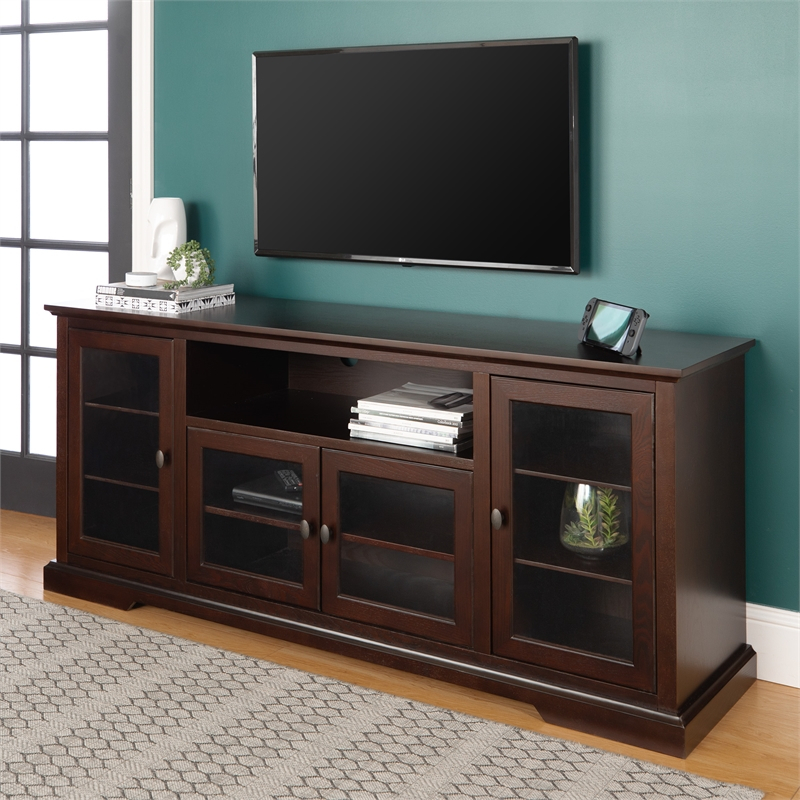 """70"""" Wood Highboy Tv Stand In Espresso With Glass Doors Inside Wooden Tv Stands With Doors (View 2 of 15)"""