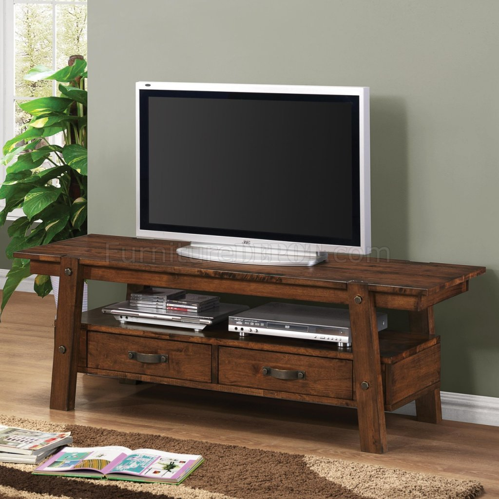 702106 Tv Stand In Rustic Pecancoaster Within Baby Proof Contemporary Tv Cabinets (View 7 of 15)