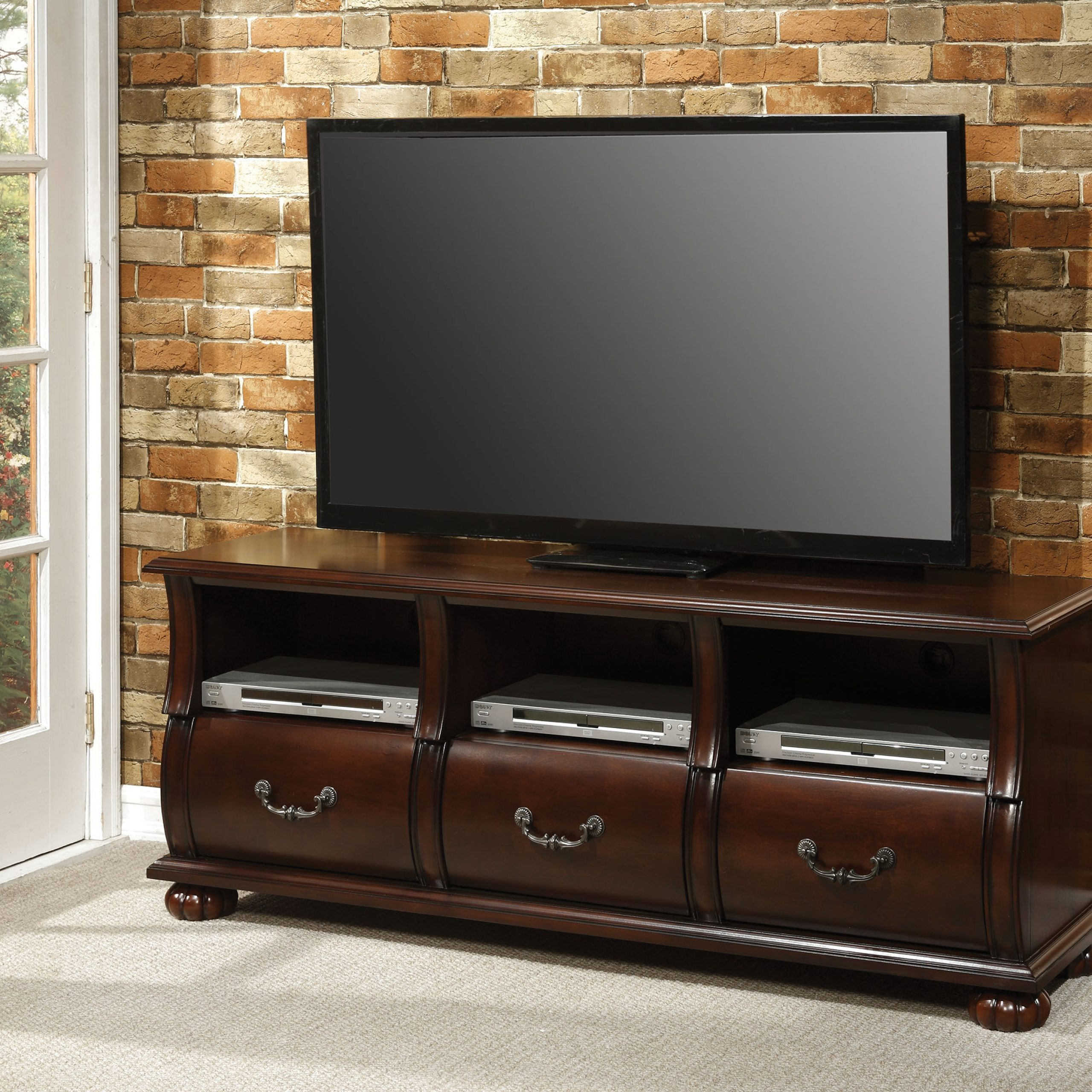 Acme Faysnow Dark Cherry Tv Stand For Flat Screen Tvs Up For Easel Tv Stands For Flat Screens (View 1 of 15)