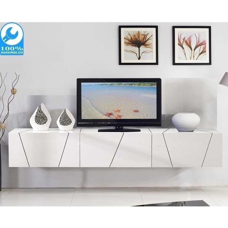 Adorra Floating Tv Cabinet In High Gloss White 2m | Buy Regarding High Gloss Tv Cabinet (View 14 of 15)