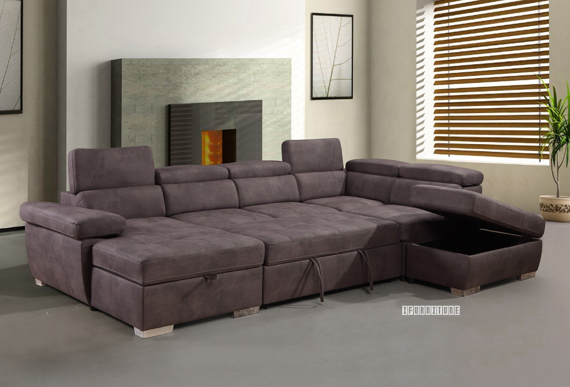 Amando Sectional Sofa/ Sofa Bed With Storage *titanium Grey Intended For Hartford Storage Sectional Futon Sofas (View 12 of 15)