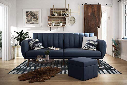 Amazon: Novogratz Brittany Sofa Futon – Navy Linen For Brittany Sectional Futon Sofas (View 8 of 15)