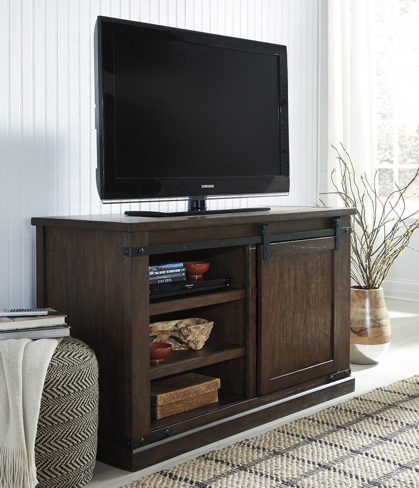 Ashley Furniture W562 28 Signature Design Budmore Tv Stand With Regard To Industrial Tv Stands With Metal Legs Rustic Brown (View 8 of 15)