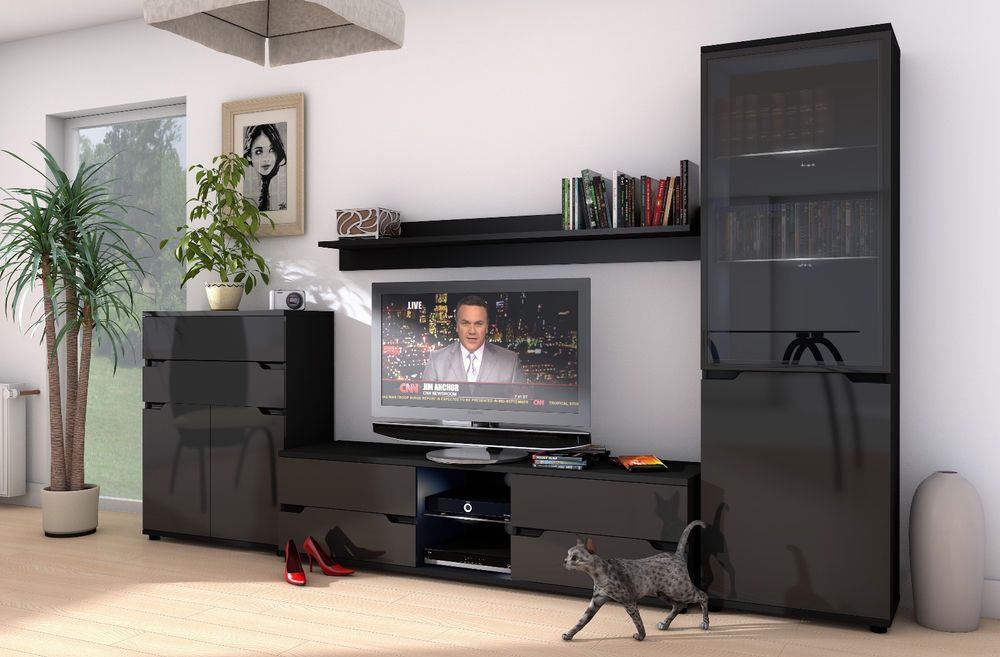 Aspire High Gloss Black Lounge Furniture Sideboard Tv Unit Intended For Long Black Gloss Tv Unit (View 10 of 15)