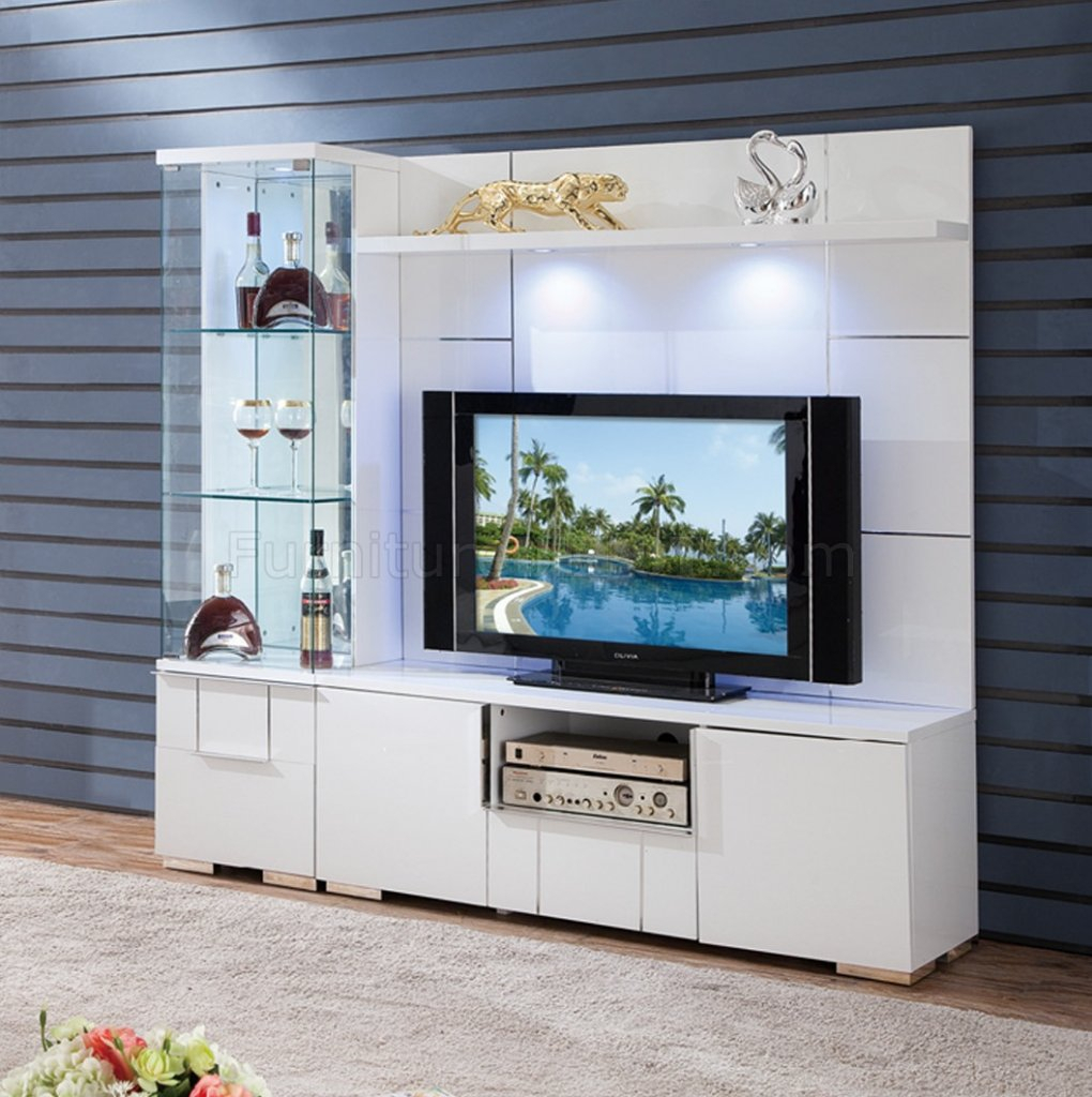Av291 55 Tv Stand In White High Glosspantek W/options Throughout Tv Stands With 2 Open Shelves 2 Drawers High Gloss Tv Unis (View 4 of 15)