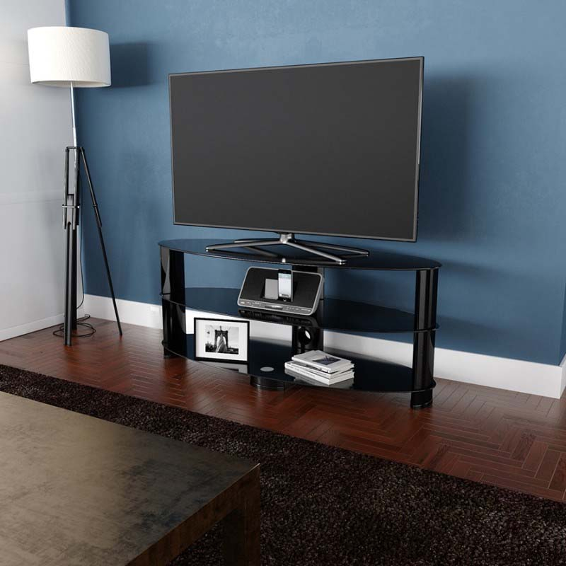 Avf Oval Black Glass 65 Inch Tv Stand (glossy Black Regarding White Gloss Oval Tv Stands (View 5 of 15)