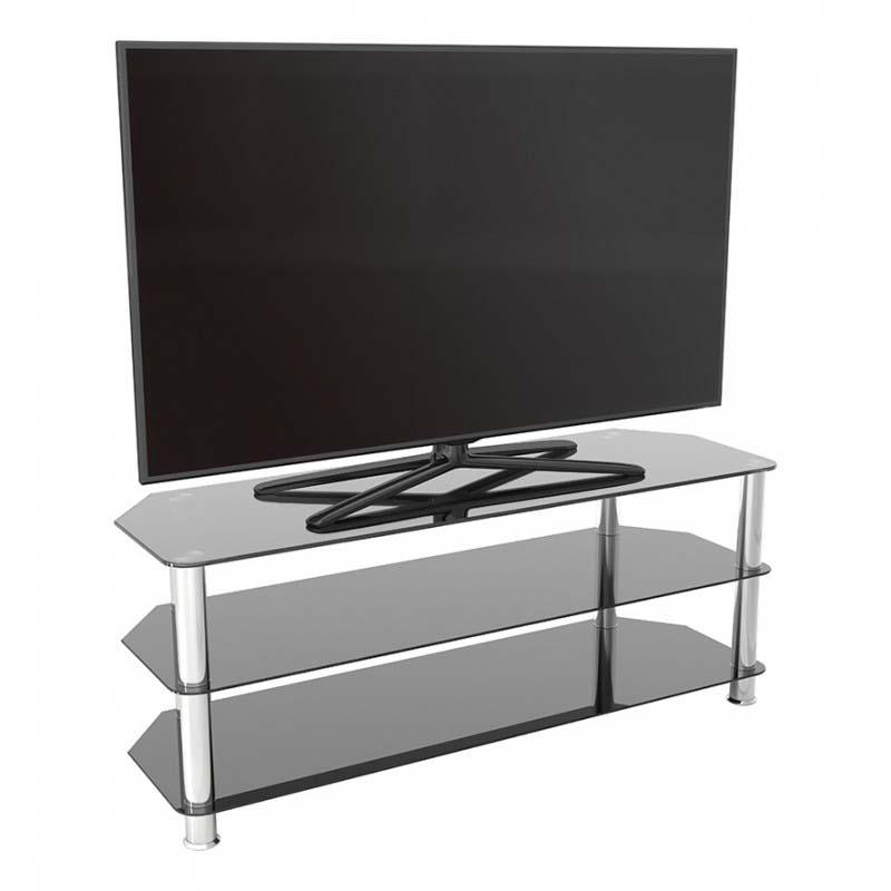Avf Sdc Series Black Glass 60 Inch Corner Tv Stand (chrome In Corner 60 Inch Tv Stands (View 10 of 15)
