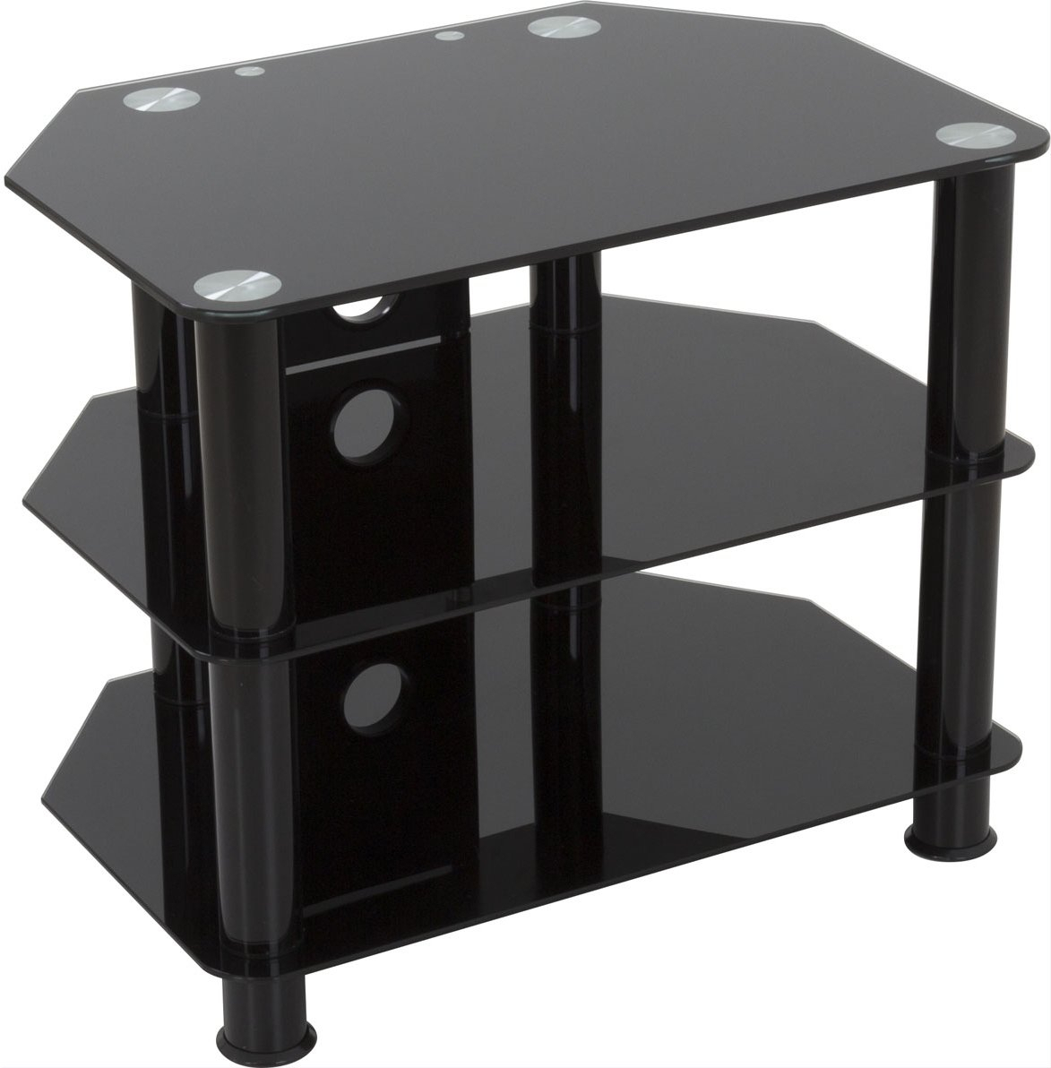Avf Sdc600cmbb Universal Black Glass And Legs Tv Stand For For Tier Entertainment Tv Stands In Black (View 9 of 15)