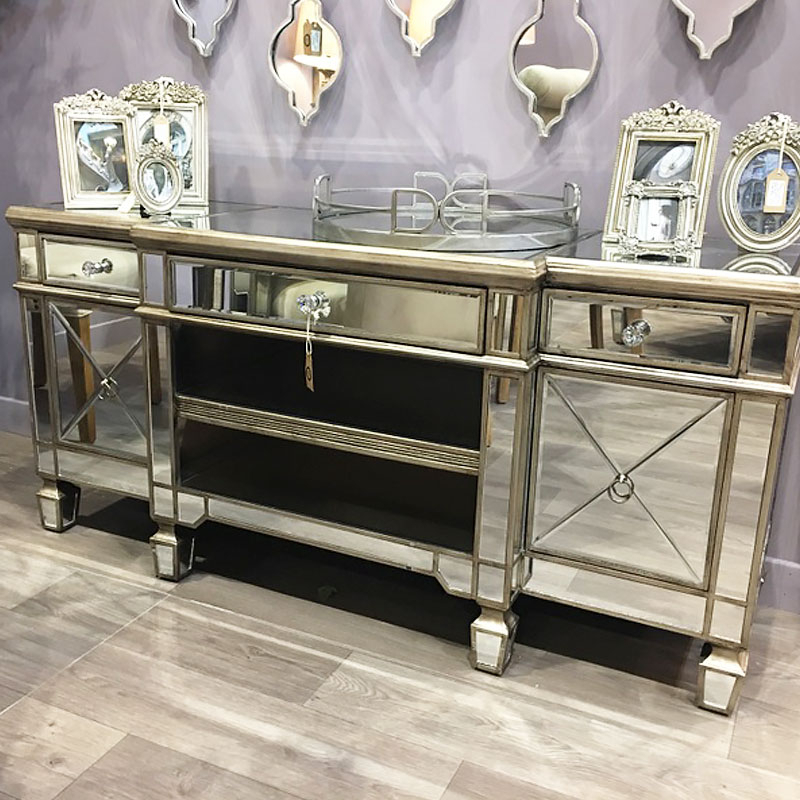 Belfry Champagne Gold Mirrored Tv Cabinet | Picture Intended For Tv Stands Cabinets (View 15 of 15)