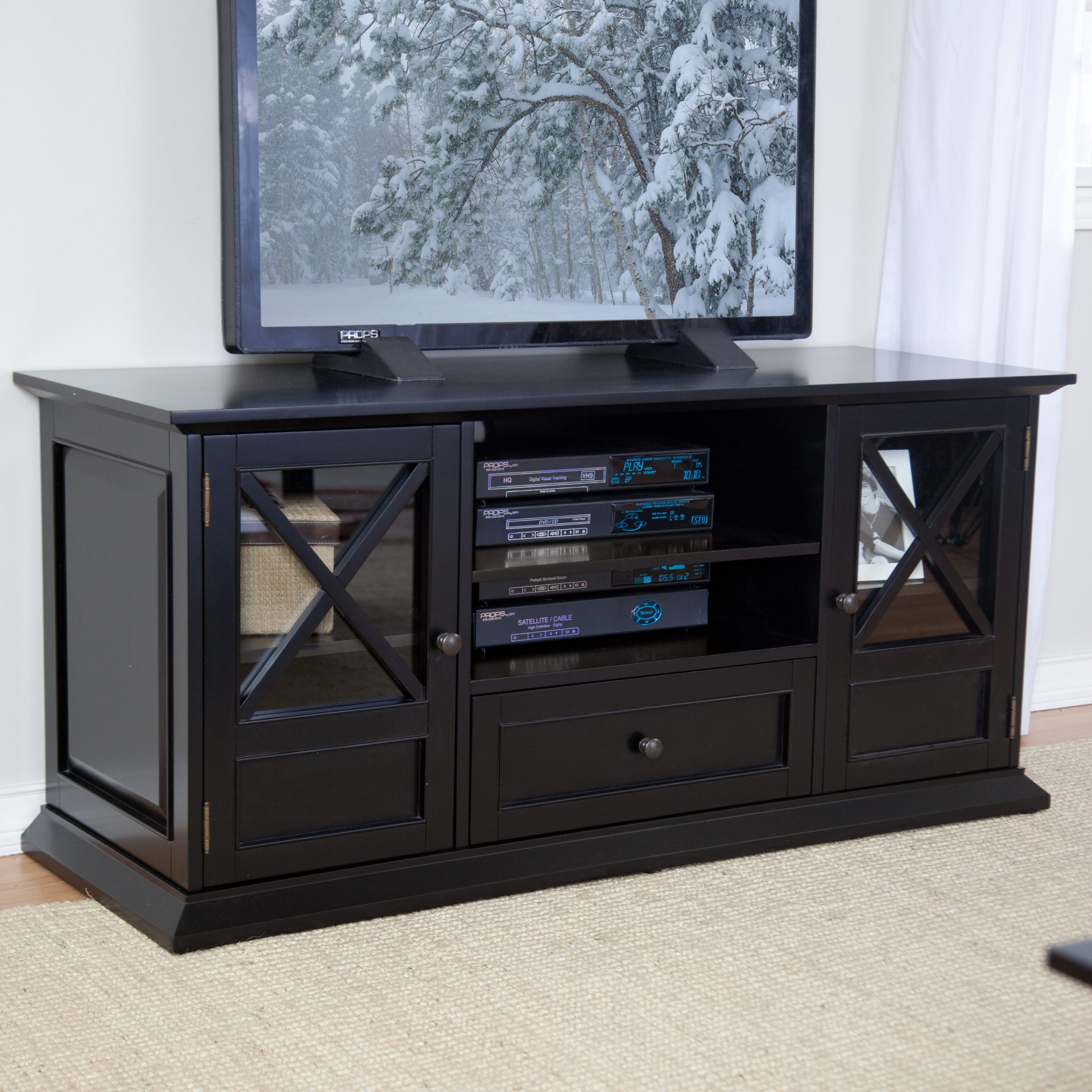"""Belham Living Hampton 55 Inch Tv Stand – Black At Hayneedle Pertaining To Baba Tv Stands For Tvs Up To 55"""" (View 5 of 15)"""