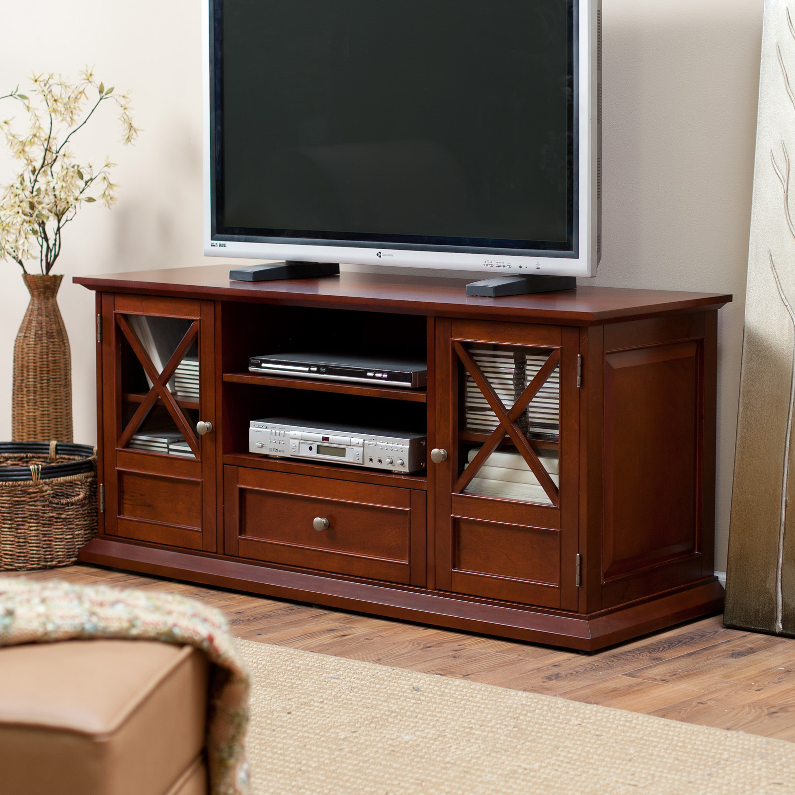 Belham Living Hampton Tv Stand In Cherry – Tv Stands At Regarding Baby Proof Contemporary Tv Cabinets (View 8 of 15)