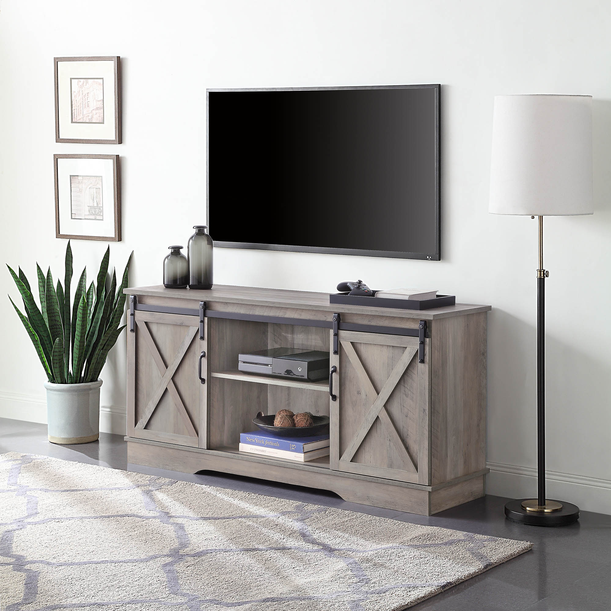 """Belleze Modern Farmhouse Style 58""""tv Stand W/sliding Barn Intended For Slim Tv Stands (View 2 of 15)"""