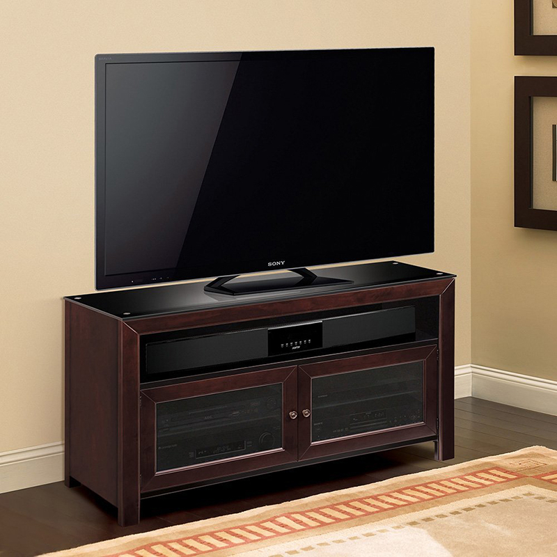 """Bello Wmfc503 No Tools Assembly Deep Mahogany Finish Wood With Baba Tv Stands For Tvs Up To 55"""" (View 9 of 15)"""