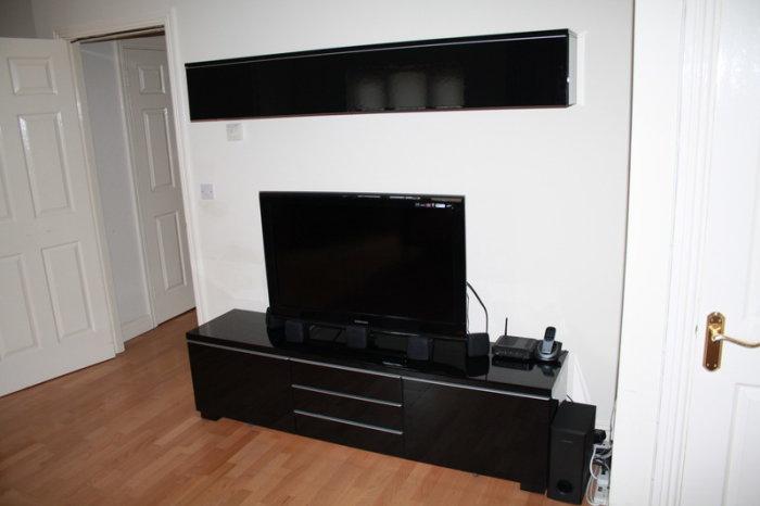 Besta Burs Tv Bench Wall Shelf High Gloss Black For Sale Throughout Black Gloss Tv Bench (View 4 of 15)