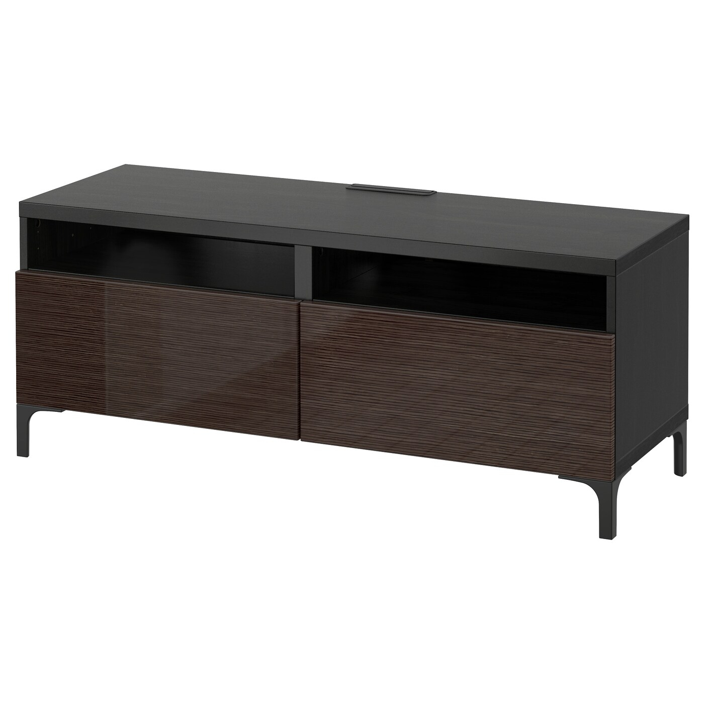 Bestå Tv Bench With Drawers – Black Brown/selsviken High Intended For Black Gloss Tv Bench (View 2 of 15)