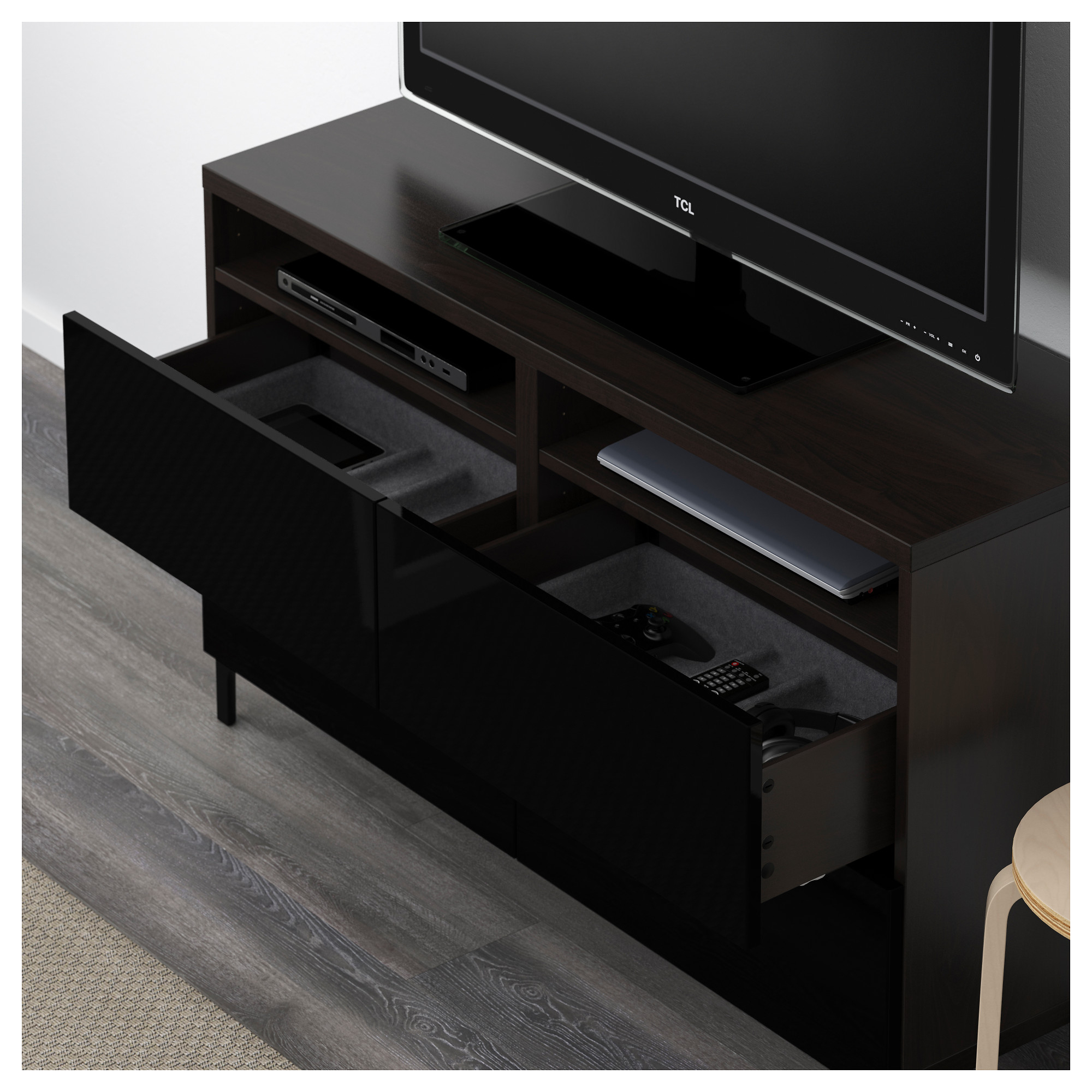 Bestå – Tv Bench With Drawers, Black Brown/selsviken High Pertaining To Black Gloss Tv Bench (View 3 of 15)