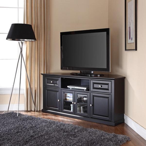Black 60 Inch Corner Tv Stand – Overstock – 15210105 Regarding Corner 60 Inch Tv Stands (View 3 of 15)