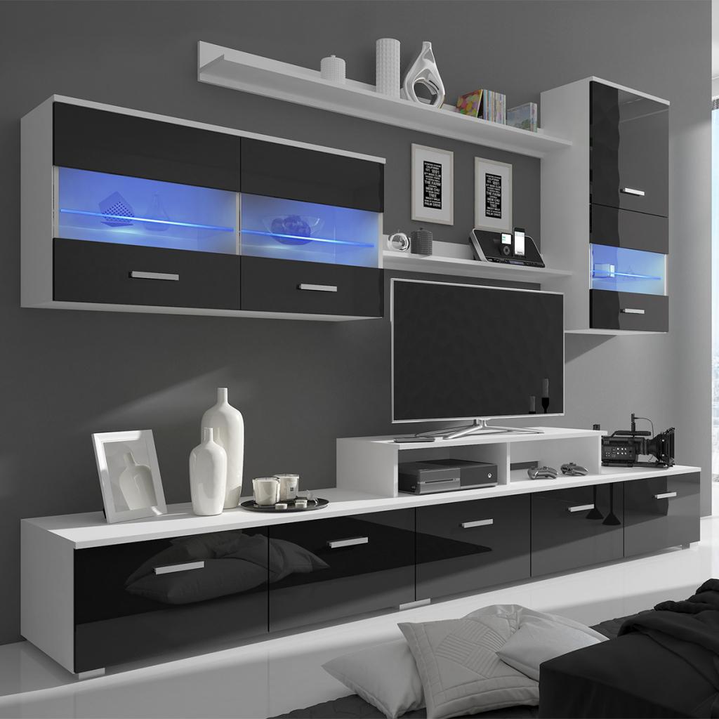 Black 7 Piece Black High Gloss Wall Display Cabinet Tv Pertaining To Long Black Gloss Tv Unit (View 6 of 15)