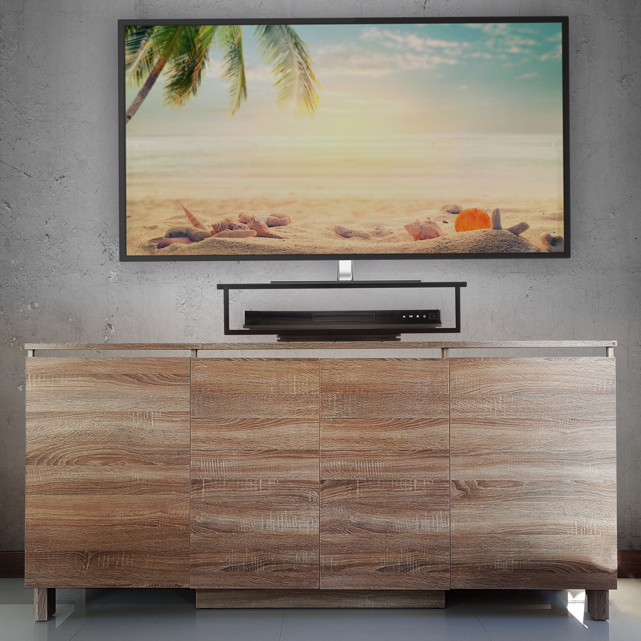 Black Bamboo 2 Tier Tv Swivel Stand – Prosumer's Choice Throughout Tier Entertainment Tv Stands In Black (View 15 of 15)