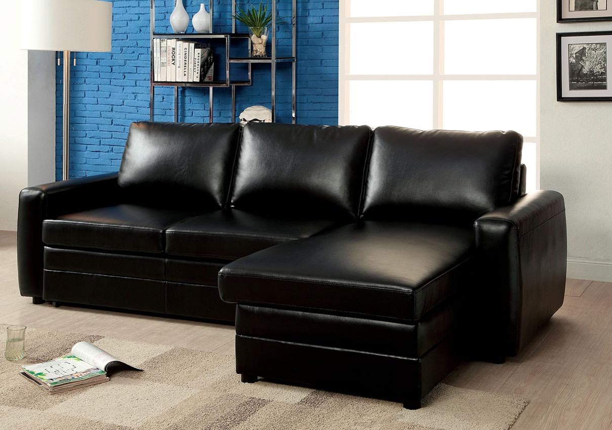 Black Convertible Sofa Bed Sectional  Umf6313 With Regard To Hartford Storage Sectional Futon Sofas (View 7 of 15)