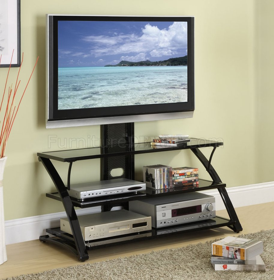 Black Finish Modern 3 Shelf Tv Stand Inside Baby Proof Contemporary Tv Cabinets (View 5 of 15)