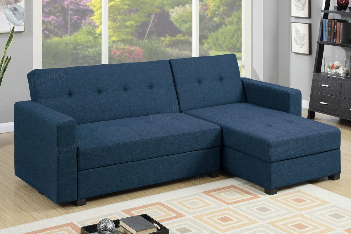 Blue Fabric Sectional Sofa Bed – Steal A Sofa Furniture Within Hartford Storage Sectional Futon Sofas (View 5 of 15)