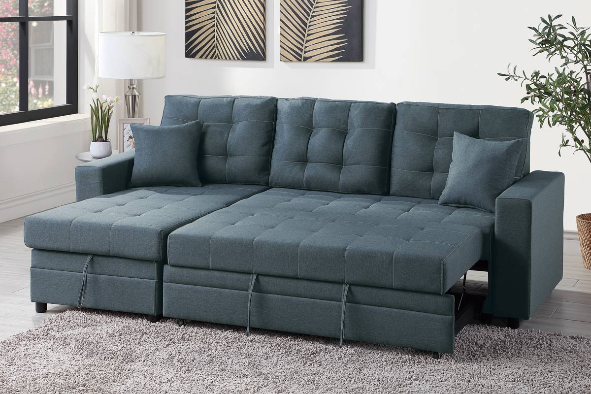 Blue Grey Convertible Pullout Bed Sofa Sectional + Storage With Regard To Hugo Chenille Upholstered Storage Sectional Futon Sofas (View 4 of 15)
