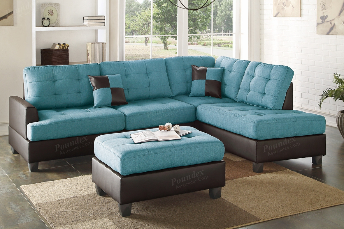 Blue Leather Sectional Sofa And Ottoman – Steal A Sofa With Noa Sectional Sofas With Ottoman Gray (View 2 of 15)