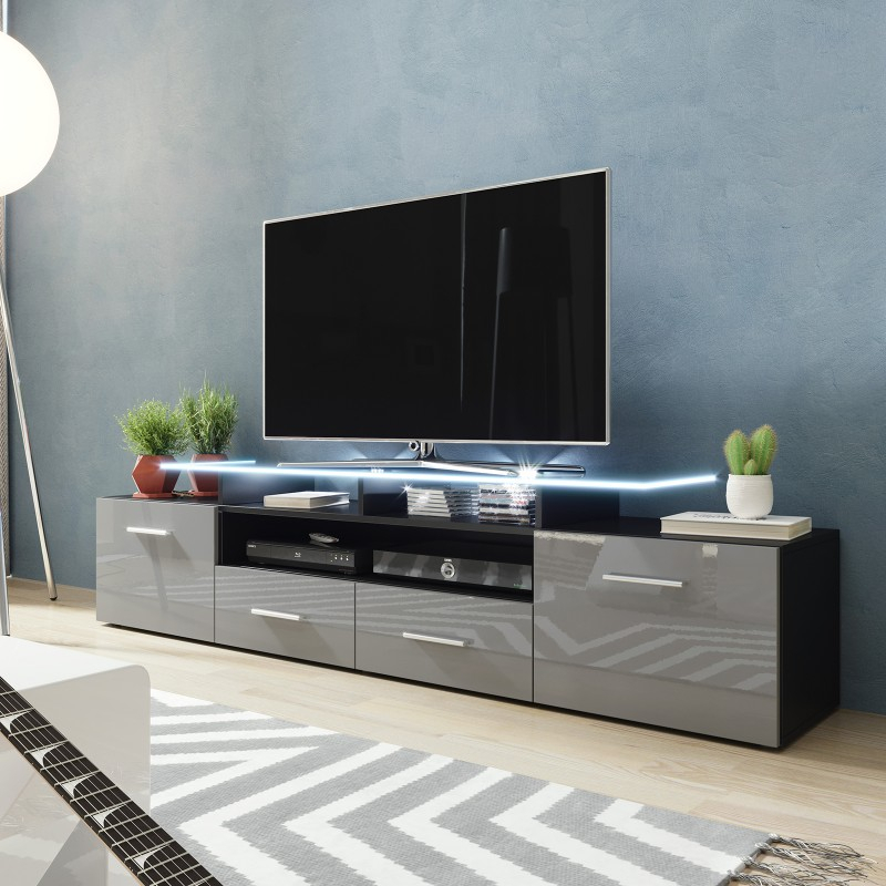 Bmf Evora Black Tv Stand 194cm Wide Grey High Gloss Led Intended For Polar Led Tv Stands (View 11 of 15)