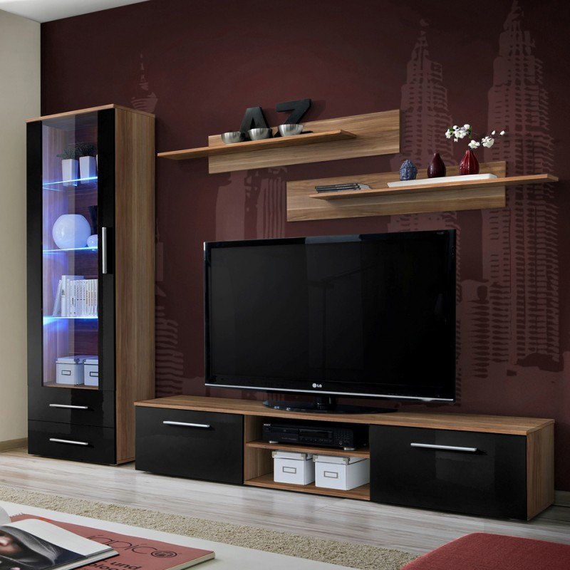 Bmf Galino A Wall Unit Living Room Set 250cm Wide High Throughout Tv Stands With 2 Open Shelves 2 Drawers High Gloss Tv Unis (View 10 of 15)