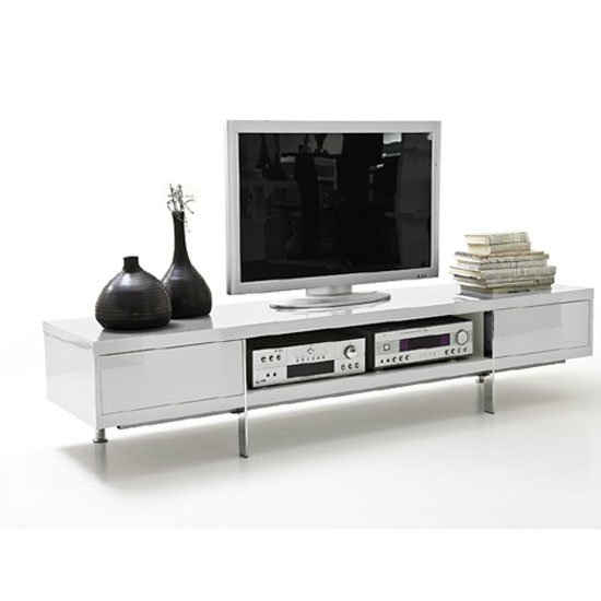 Brisbane Lcd Tv Stand In White High Gloss Finish With 2 With Regard To Tv Stands With 2 Open Shelves 2 Drawers High Gloss Tv Unis (View 6 of 15)